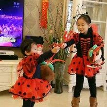 Chica trajes de las niñas se visten de insectos mariquita vestido de fiesta de carnaval de halloween para niños chicas performence(China (Mainland))