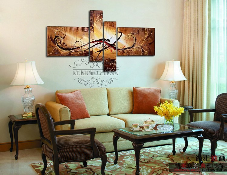 Home Decoration The Paintings Handmade 4 Piece Abstract Decorative Wall Art Egyptian Picture For Living Room Abstract Canvas Art