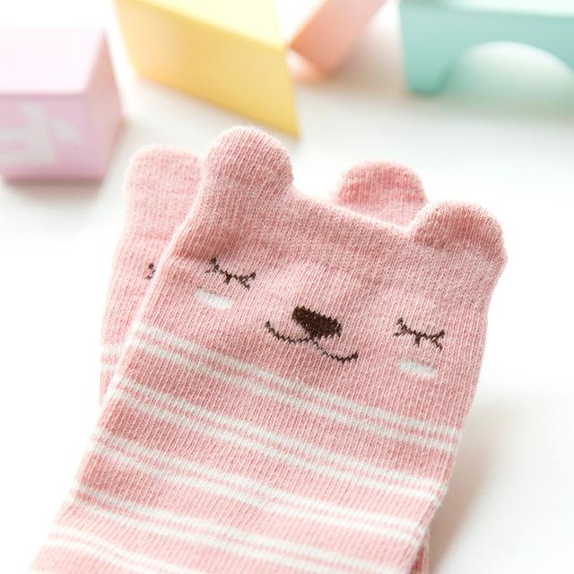 Baby Knee High Socks Girls Boys Autumn Winter Socks Anti-skid Floor Socks Cartoon Animal Cotton Leg Warmer Socks 0-2 Years Old