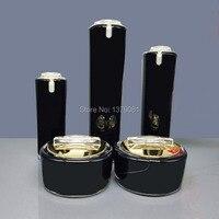 高品質ブラックアクリルクリームジャーゴールドキャップ空の化粧品ボトル容器瓶ローションポンプボトル30グラム50グラム30ミリリットル50ミリリットル、100ミリリットル