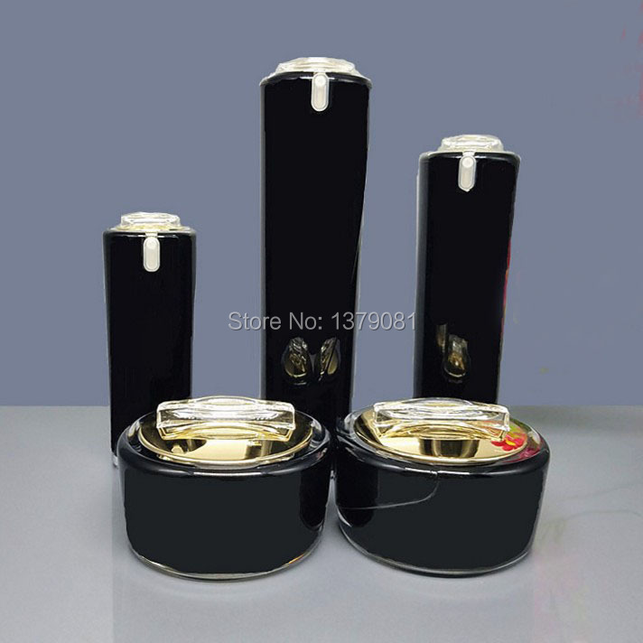 High Quality Black Acrylic Cream Jar Gold Cap Empty Cosmetic Bottle Container Jar Lotion Pump Bottle 30g 50g 30ml 50ml,100ml 150g aluminum jar refillable cosmetic cream bottle empty screw cap containers black pink gold white silver lotion tins