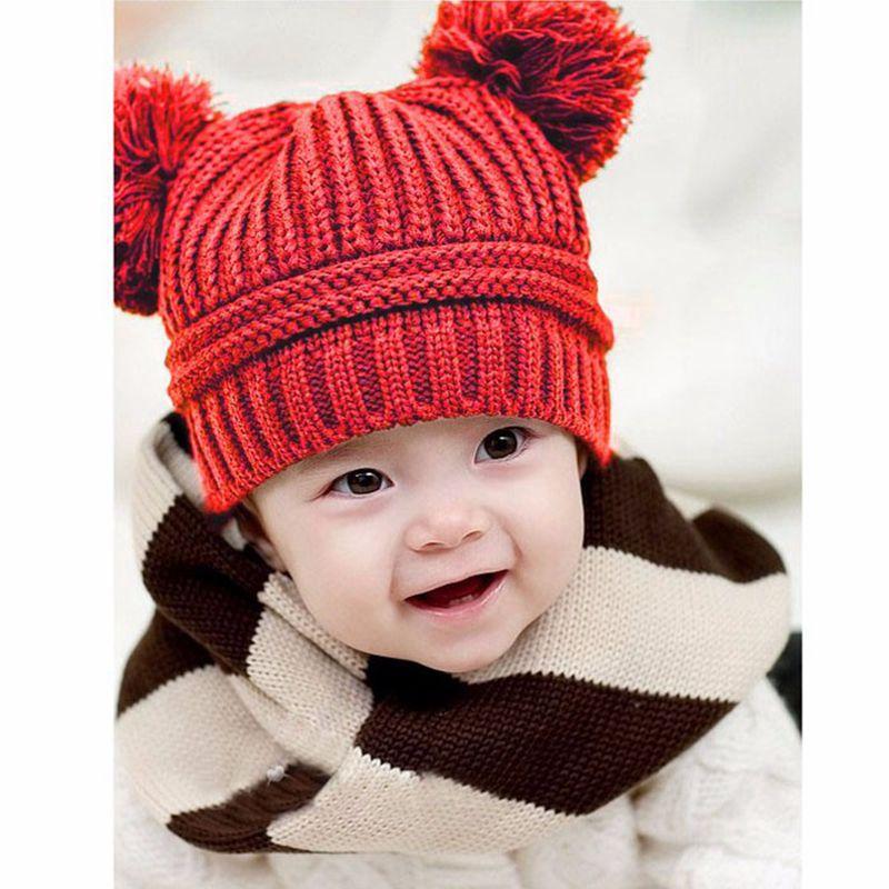 Милый ребенок Дети Hat для девочек и мальчиков теплые зимние вязаные Кепки шляпа зимние аксессуары для детей новорожденных фотографии аксес...