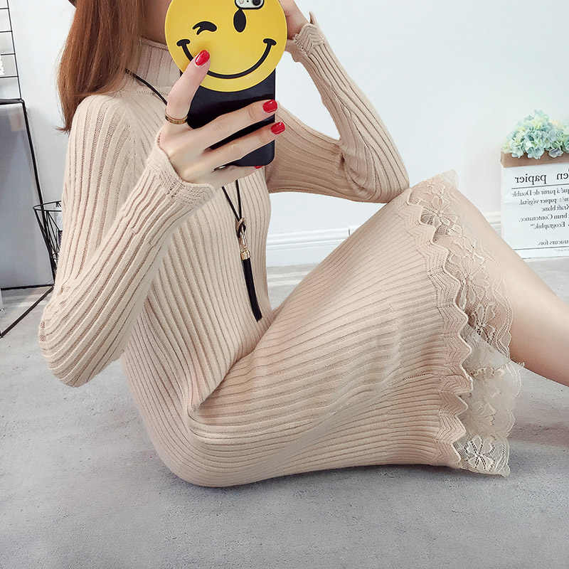 Lace Women Sweater Dress Oversized Long Sleeve White Black Knitted Sweater Casual Pullovers Ladies Clothing Tops Winter Knitwear