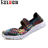 Keloch Women Woven Shoes 2017 New Summer Breathable Handmade Flats Fashion Comfortable Women Woven Casual Shoes