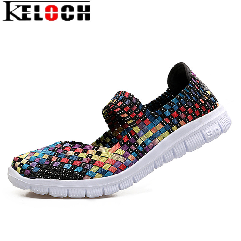 Keloch Women Woven Shoes 2017 New Summer Breathable Handmade Flats Fashion Comfortable Women Woven Casual Shoes Chaussure Femme fashion women casual shoes breathable air mesh flats shoe comfortable casual basic shoes for women 2017 new arrival 1yd103