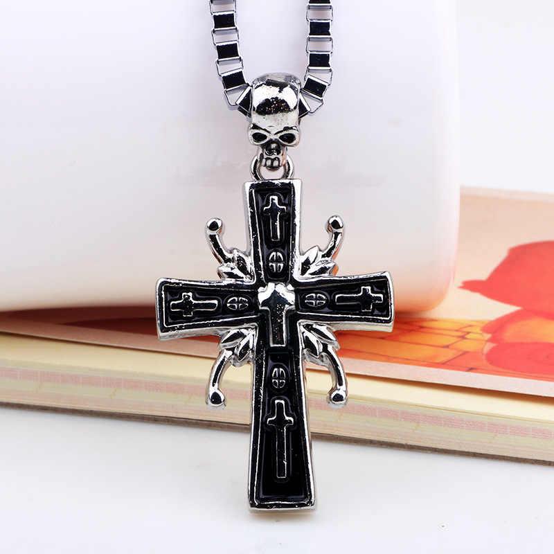 Ukrzyżowany jezus krzyż z rzeźbione słowo Christian wisiorek naszyjniki biżuteria dla mężczyzn ciężkich bizantyjski łańcucha Link