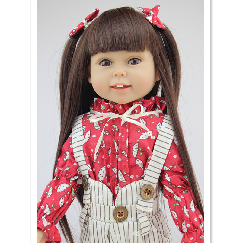 45 cm/18 Inch American Girl Doll Toys for Children's Birthday Gift,Plastic Reborn Dolls Babies Girls Doll Soft Toys vintage faux leather layered rhinestone bracelet for women