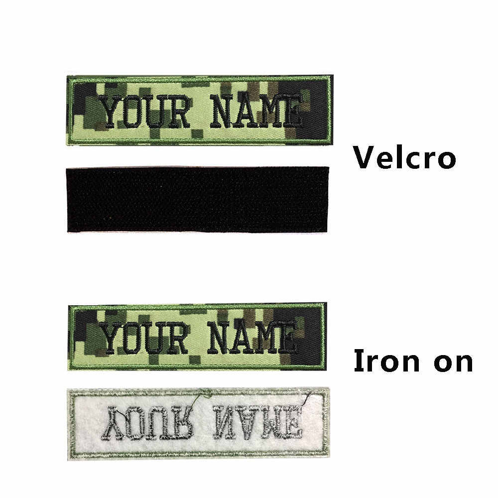 Custom Military embroidery Name Patch Camouflage Army Green patches US  Brazil France UK country flag personalized