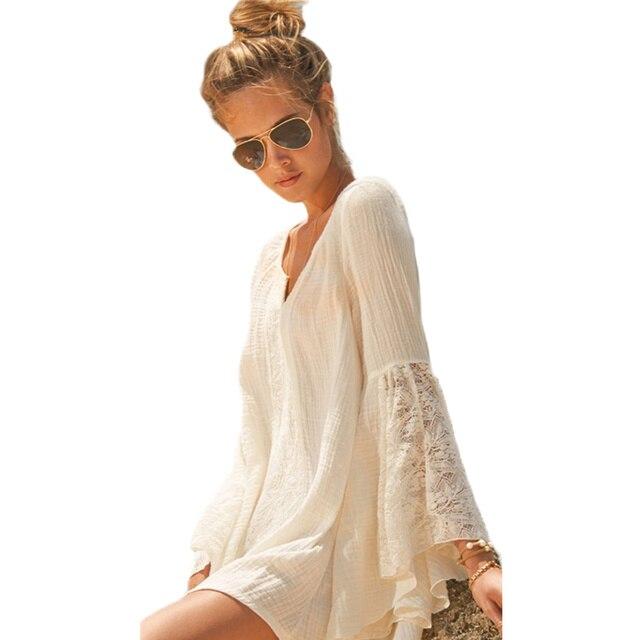 Модные женские элегантные Богемия льняное платье женские стильные пикантные V Средства ухода за кожей Шеи Кружево Flare рукавом Повседневное пляжная Летний Сарафан Vestidos