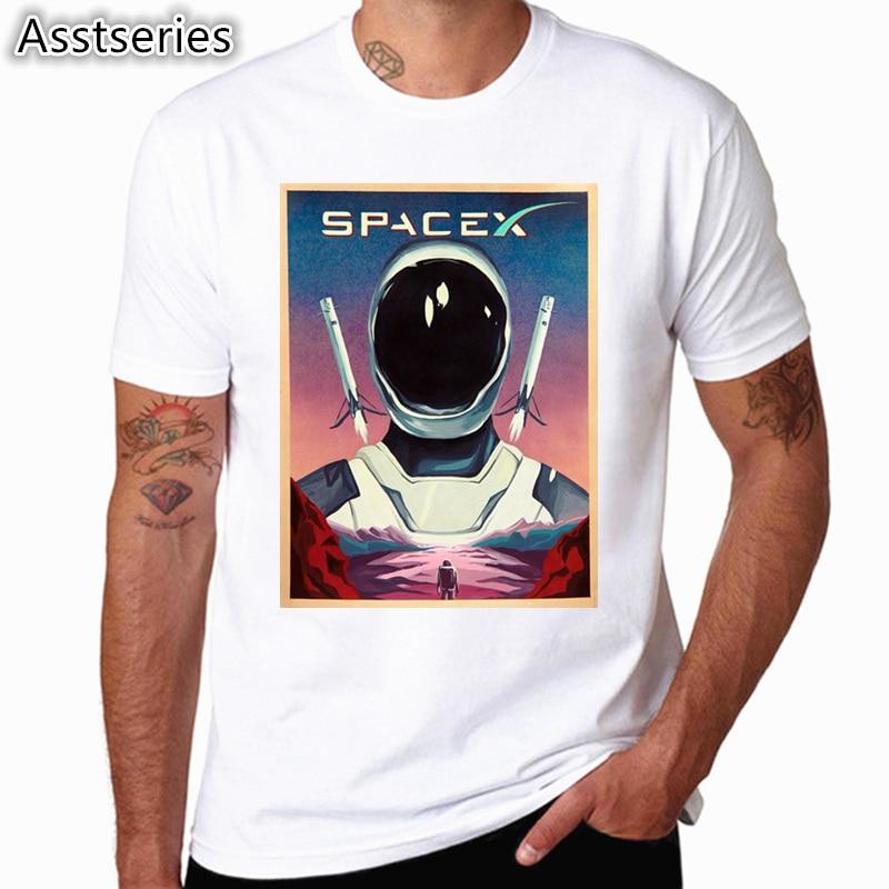SpaceX T shirts Men Space X Logo Men's T-shirt Popular Custom Short Sleeve Occupy Mars Tshirt HCP4538 1