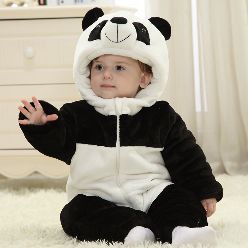Winter Thick Warm Fleece Cartoon Animal Panda Newborn Baby Boy Clothes Girl Baby Creepers Costume Indoor Infantil Jumpsuit cartoon baby rompers costumes fleece newborn baby girl boy clothes winter overalls roupa bebes animal next clothing warm clothes