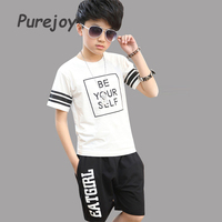 Teenage Kids Outfits For Boys Summer Cotton White Tops Black Pants Suits Child T Shirts Shorts