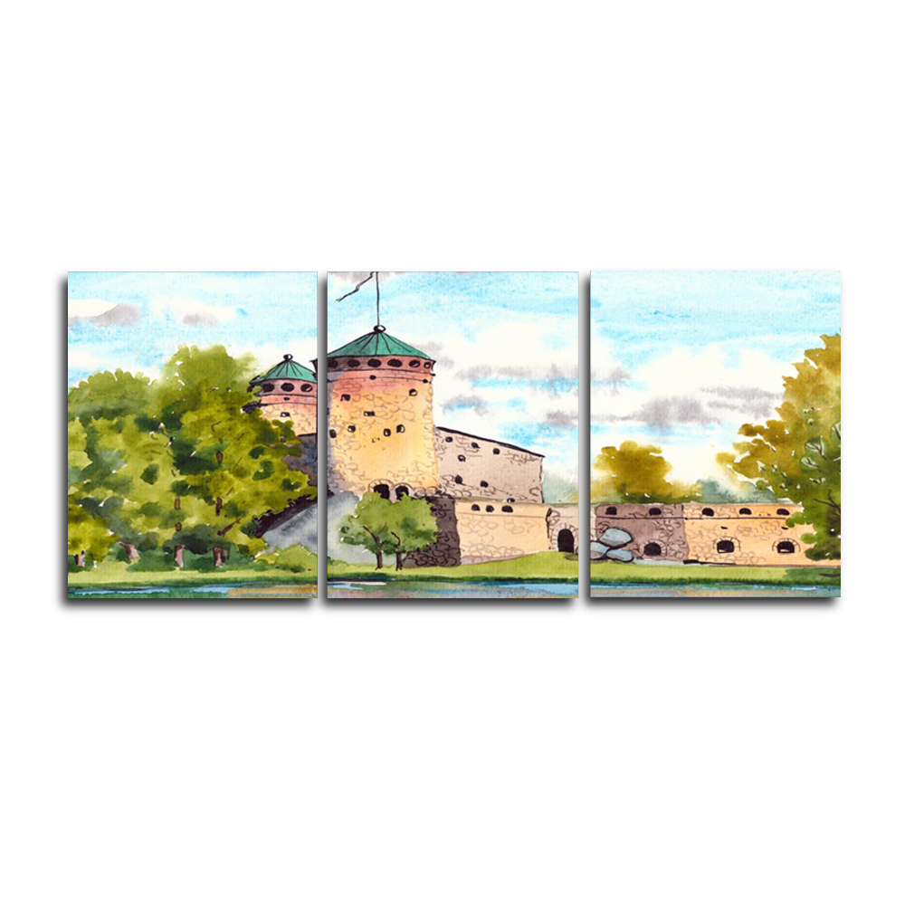 Laeacco Spring Trees Castle House Posters and Prints Nordic Home Living Room Decoration Art Canvas Paintings on the Wall