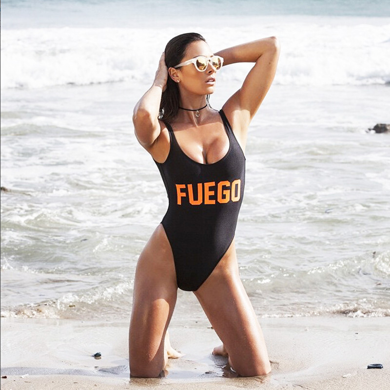 Aliexpress.com : Buy 2016 Sexy Bachelor Party FUEGO Swimwear Letter Print  One Piece Swimsuit Monokini High Cut Bathing Suit Maillot De Bain Femme  From ...