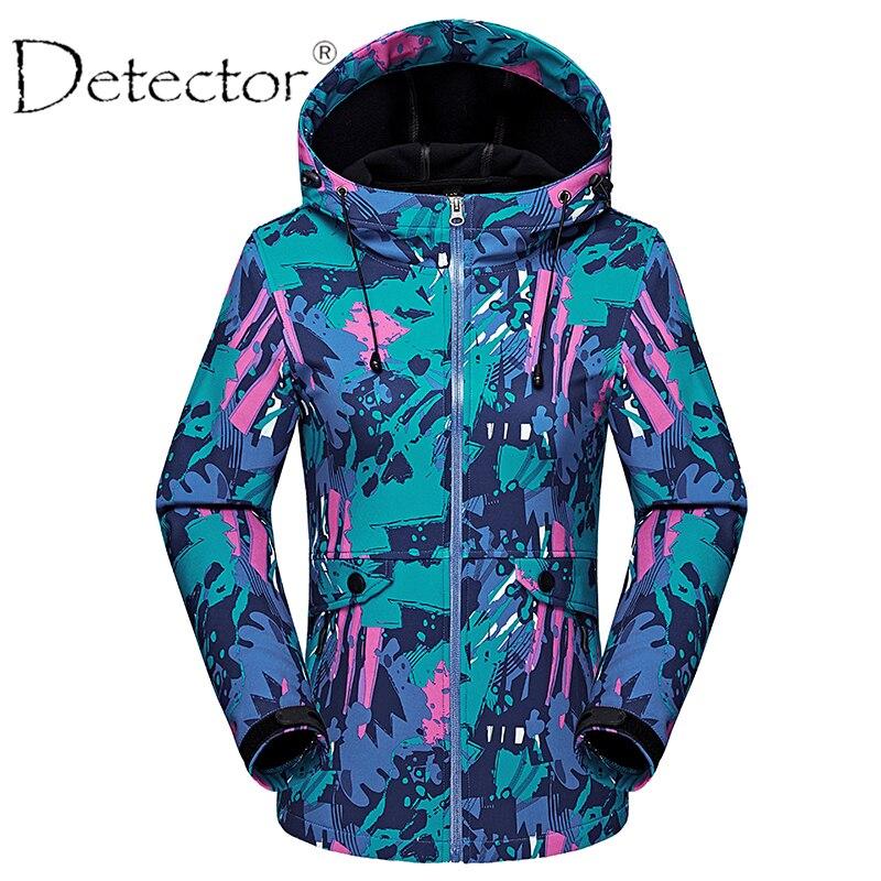 Детектор Открытый Демисезонный Восхождение Отдых Пеший Туризм Куртка Softshell Водонепроницаемый ветрозащитный Термальность ветровка Для женщин теплое пальто