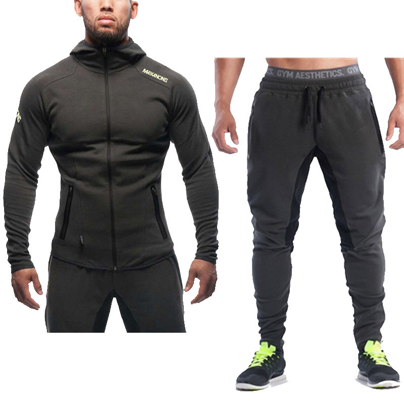 Men's Brand Sporting Suit 2 Piece Jacket+Pant Men Suit Hoodies Sets Mens Gyms Sportswear Jogger Sweatsuit Men Clothing Tracksuit