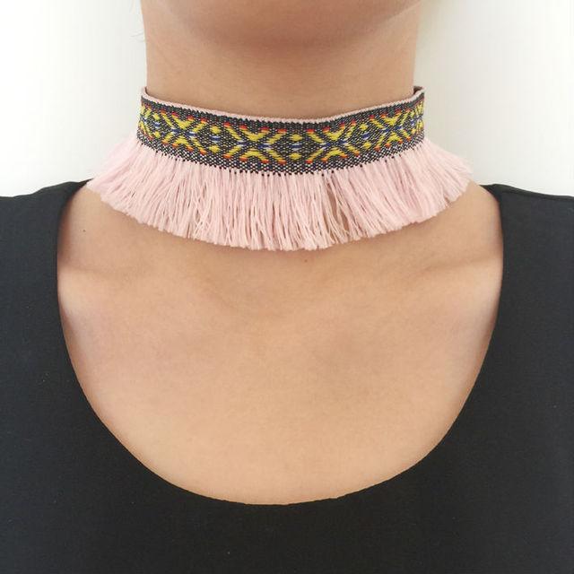 Native Multicolor Choker Necklace Wild Tribe Style