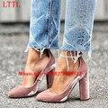 Chaussure Femme Talon New Designer Ankle Strap Block Heels Elegant Dress Shoes Woman Pointed Toe Wrap Around Pink Velvet Pumps