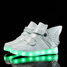2016 New USB Charging children shoes Autumn winter goldfish models led night lighted shoes LED lights kids sport sneakers