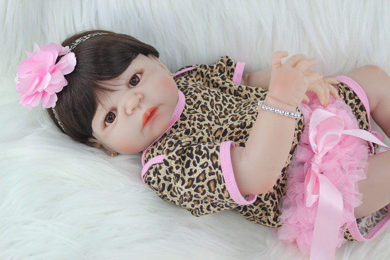 Full Silicone Body Reborn Baby Girl Doll Toys Lifelike 55cm Princess Newborn Babies Dolls Lovely Fashion Birthday Gift Bathe Toy 28cm white full body silicone reborn baby dolls toys lifelike girls doll play bath toys gift brinquedods princess reborn babies