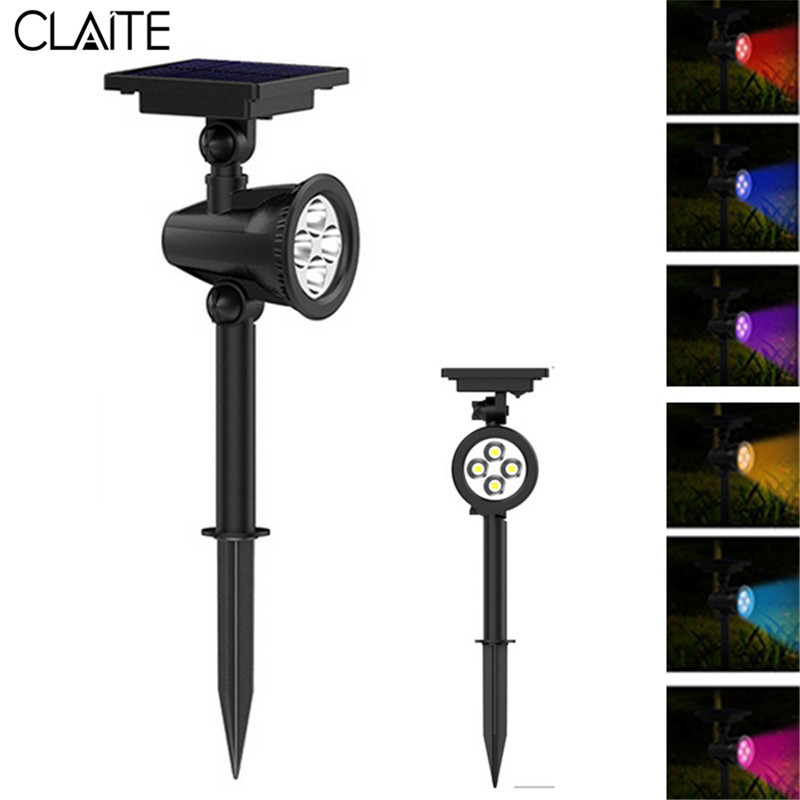 CLAITE LED Solar Powered Lawn Lamp Remote Control 8 Color Changing LED Spot Light Waterproof Outdooor Garden Lawn Landscape Lamp