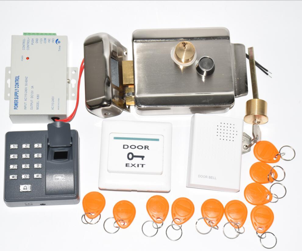 電動ゲートドアロックフェイルセキュア電気ドアゲートロックキットと指紋リーダードアベル 10 rfid タグ  グループ上の セキュリティ & プロテクション からの 電気錠 の中 1