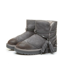 2016 Women fur lined leather boot winter snow boot girls Short sheepskin Leather Australia yellow Boot Winter Shoes