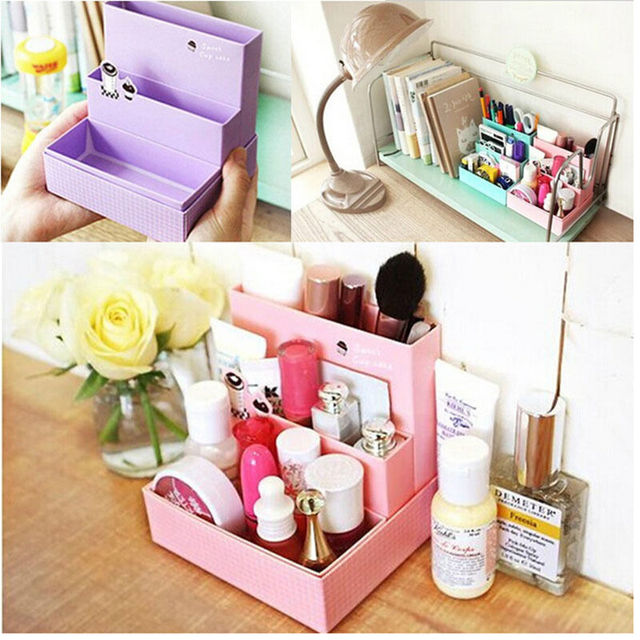 1 Pc DIY Paper Board Folding Storage Box Desk Decor Stationery Women Makeup  Cosmetic Organizer New