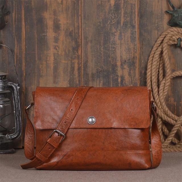 Genuine Leather Men Shoulder Satchel Casual Male Messenger England Style Handbags For Man Crossbody Vintage Solid