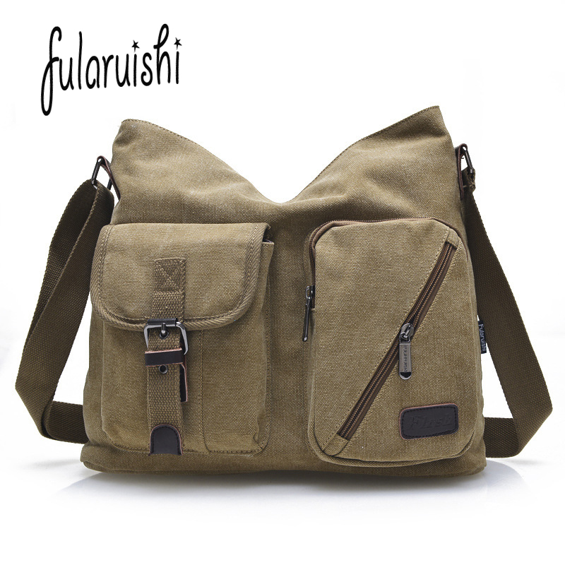 FULARUISHI Vintage Men's Messenger Bags Canvas Shoulder Bag Fashion Men Business Crossbody Bag Casual Travel Man Handbag WH341 new shoulder casual bag messenger bag canvas man travel handbag for male trip daily use grey khaki black color fashion