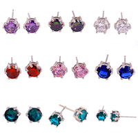 Women Jewelry Delicate Round Cut  Pink Topaz 925 Silver Stud EarringsNew Fashion Style Whlesale Free Shipping