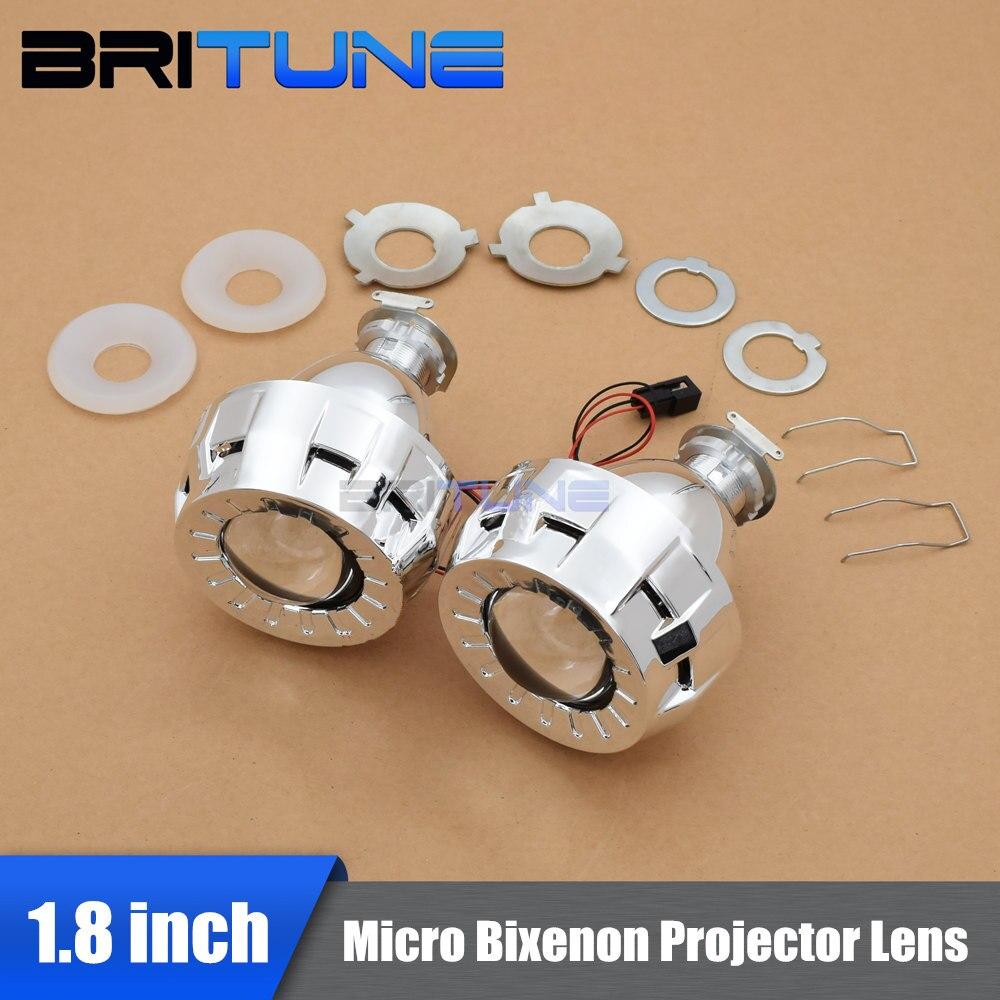 1.8/2.0 Pouces Micro HID Bi xénon Projecteur Lentilles pour Phare + haubans Haut Bas Lampes H1 H4 H7 RHD/LHD Pour Rénovation Kit DIY