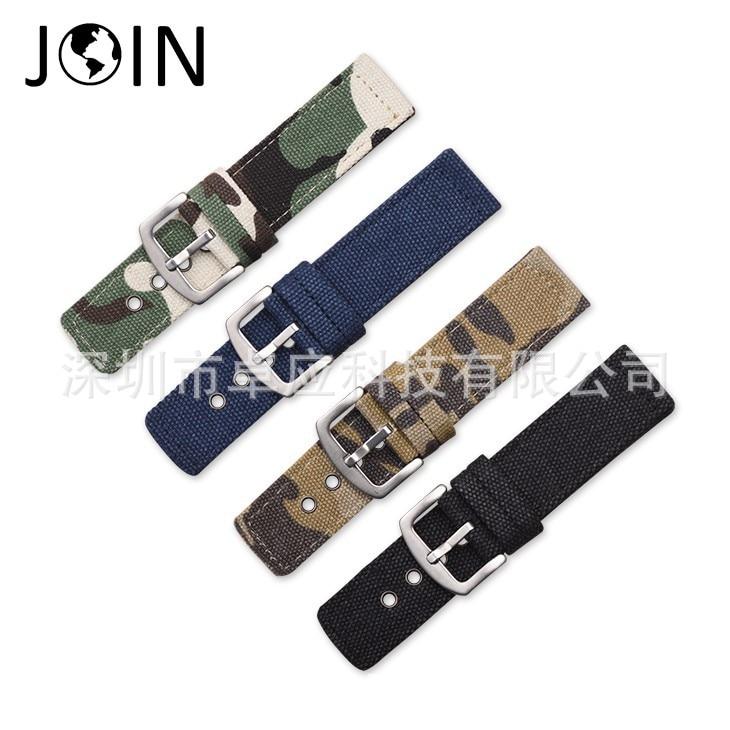 Горячие диких спорт холст камуфляжной ткани плоский ремень 18 20 22 24 мм браслет мягкая и comfortablem часы аксессуары браслет