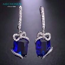 Mechosen lujo royal blue rhinestone brillante pendientes de piedras zirconia aretes kawaii bowknot max brincos oro plateado mujeres bijoux