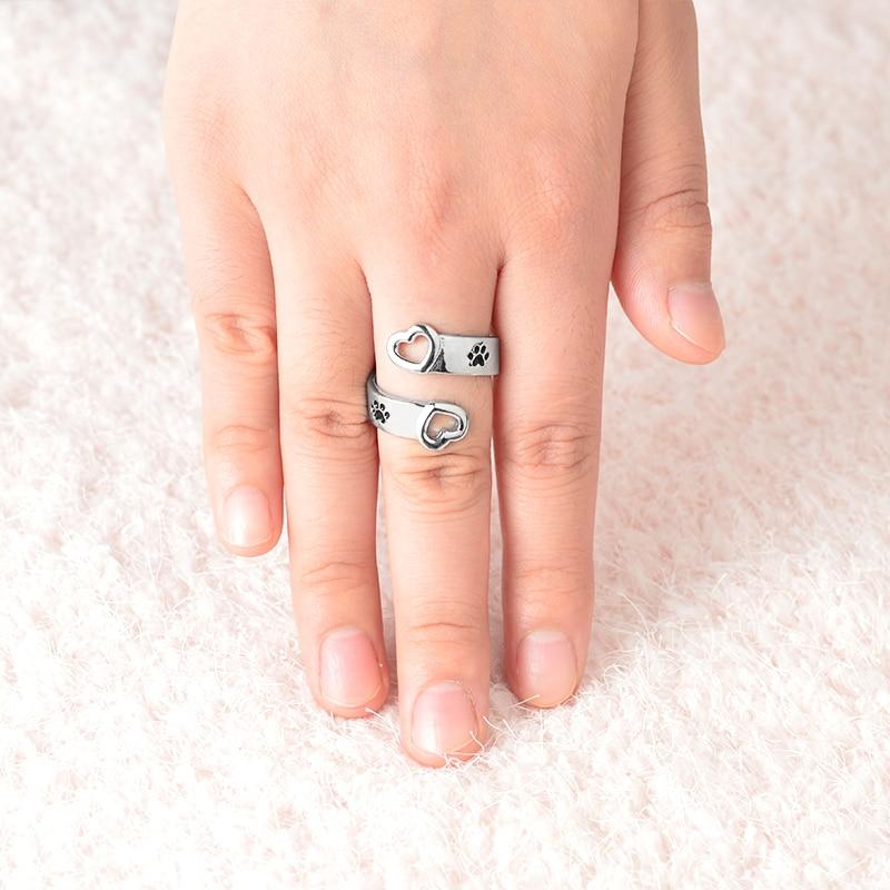 I will love you forever Dog кольцо в виде лапы для женщин, для любителей собак, полые кольца в форме сердца для открывания в форме сердца, ювелирные изделия для домашних животных, подарки