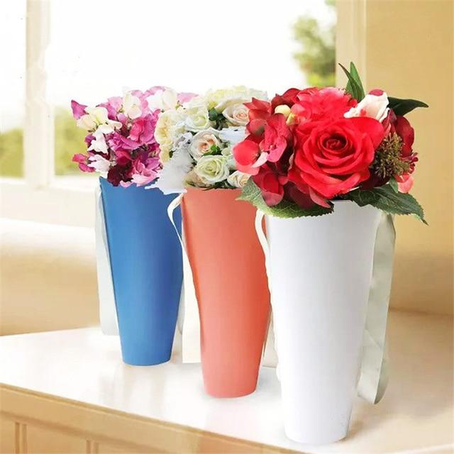 5pc High Grade Portable PVC Bag Flower Box Hug Bucket Trumpet Gift ...
