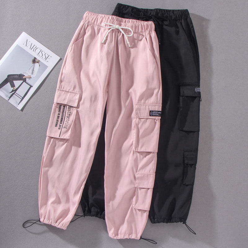 2020 Spring Streetwear Loose Hip Hop Cargo Pants Women Harajuku BF Spring Big Pocket Hearm Pants High Waist Female Trousers