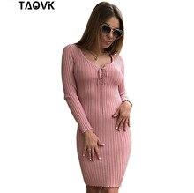 Taovk Для женщин длинные вязаное платье тонкий Платья для женщин эластичные узкие Разделение платье краткое вязаное платье