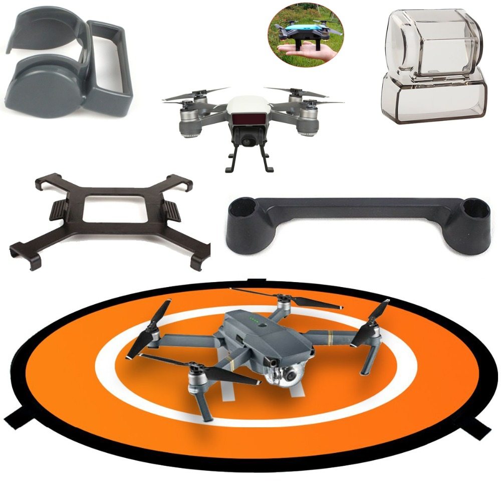 DJI Spark Accessories Set Fast-Fold Landing Pad ,Propeller Blade Fixed Holders,Gimbal Lens Cap Cover Protector Guard ,Lens Hood spark propeller guards protectors shielding rings with landing gears stabilizers for dji spark