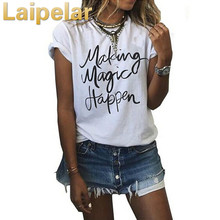 Laipelar 2018 New T Shirt Women Fashion Letter Print  Tee Tops Short Sleeve O-neck Women T Shirts Casual Thin Female T-Shirt wotwoy casual cotton t shirt women short sleeve summer tops women embossing letter print tee shirt female loose t shirts women