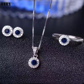 Women Natural Sapphire Gemstone Jewelry Set Genuine 925 Sterling Silver Necklace Pendant Earrings Ring