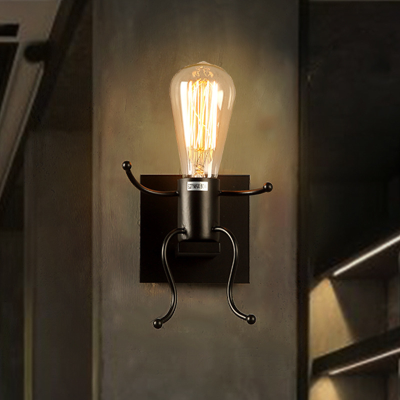 ФОТО Loft Vintage Wall Lamps American Industrial Wall Light Edison Light E27 Bedside Wall Fixtures Home Decoration Lighting WWL060