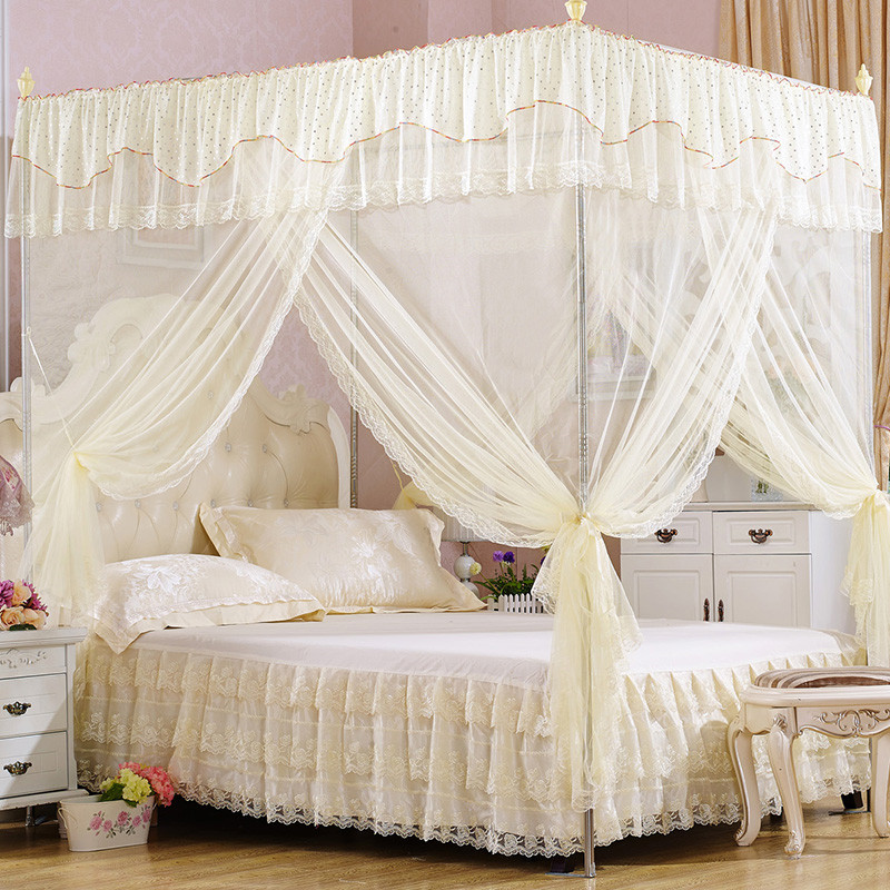 Summer mosquito net beige quadrate palace bed net curtain for 1.2m 1.5m 1.8m 2.0m netting with bracket frame anti Mosquito nets