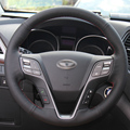 Hand-stitched Black Leather Steering Wheel Cover for Hyundai Santa  Fe 2013-2015