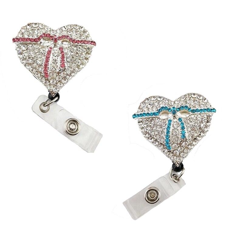 20 pièces en gros 35mm rose/bleu forme de coeur avec ruban infirmière le porte-badge id strass brillant cristal ID badge bobine
