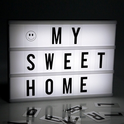 2017 Nova lamparas LED DIY Combinação Caixa de Luz Noite Lâmpada A4 A6 Letras de tamanho Caixa de Cartões de Placa Luminaria Casamento Xmas Decor abajur Night light