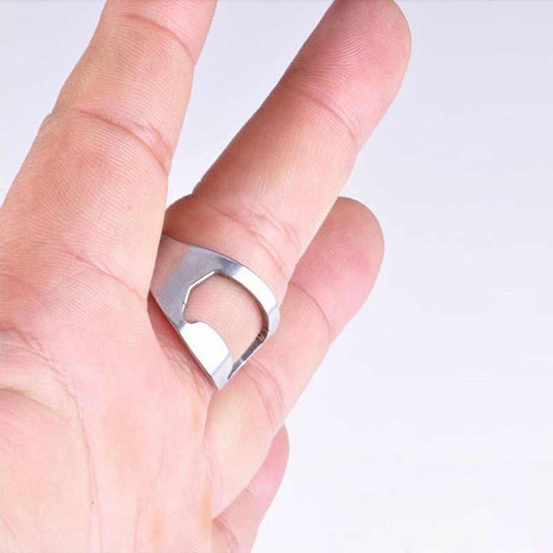 1 Uds., creativo y versátil, abridor de botellas de cerveza en forma de anillo de dedo de acero inoxidable