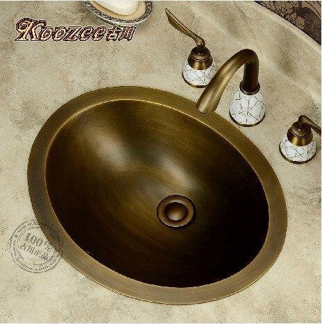 Style européen jardin antique cuivre bassin lavabo elliptique salle de bain évier