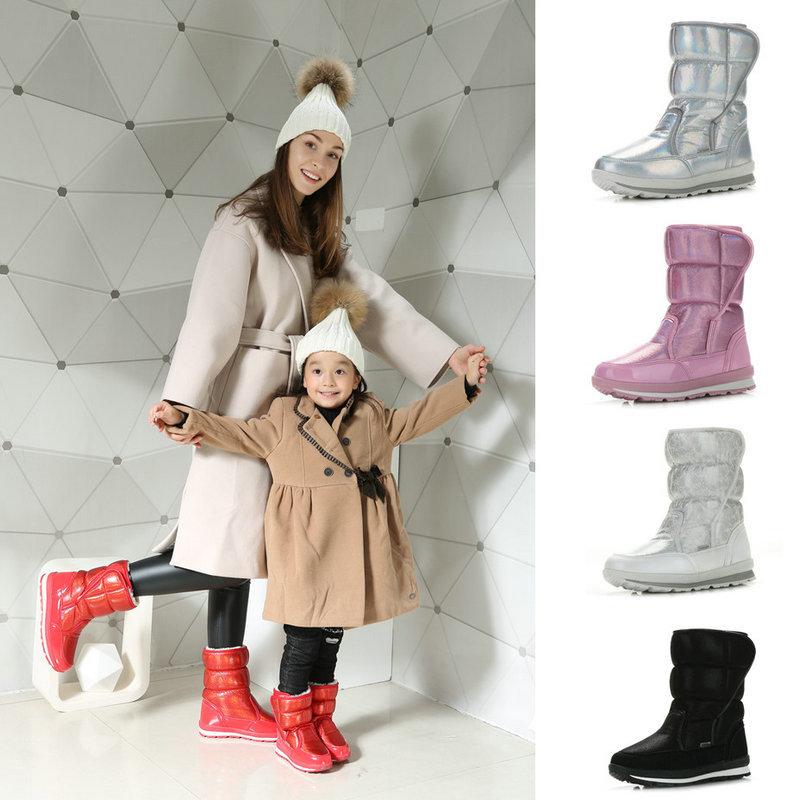 Inovador e elegante doce impressão de camuflagem sapatos Pai-Filho botas de neve para o inverno das crianças com os pés 12 cm para 26 cm de comprimento
