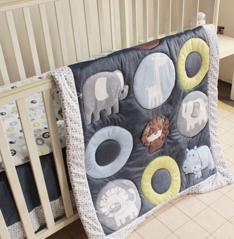 7 pçs bordado algodão kit berço roupa